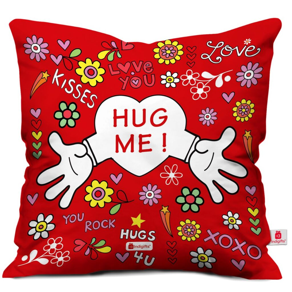 Best Valentine Day Gifts Ideas Valentine Gift for Boyfriend Love Hug Me Quote Red Cushion Cover 12x12 inches with Filler - Gujju Powers